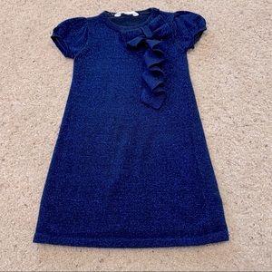 H&M girls navy sparkle sweater dress size 4-6 year